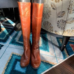 Brown Marc Fisher Leather Knee Length Boots 8M
